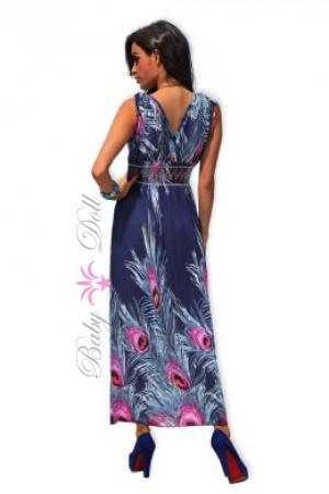 Rochie albastra lunga Long Blue Flower S-M