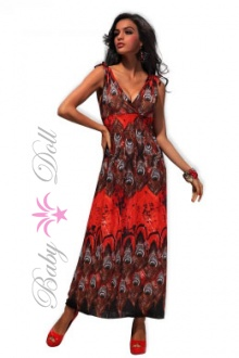 Rochie rosie lunga Long Red Flower S-M