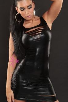 Rochie neagra lucioasa Sexy Sarah S-M